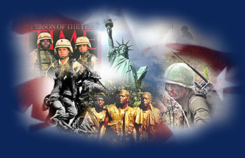 picture statue of liberty and various veterans superimposed on American flag